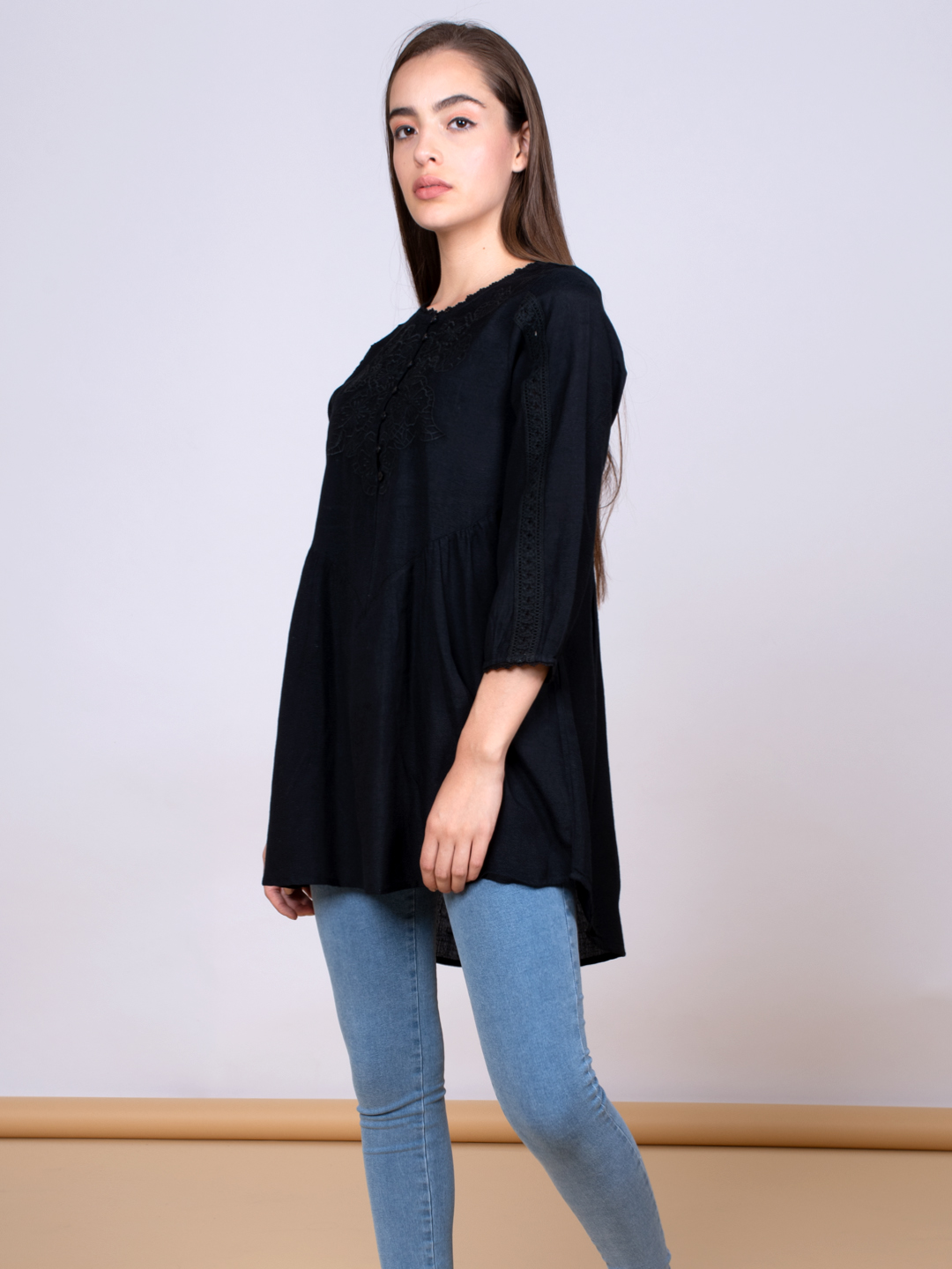 Black embroidered Linen tunic