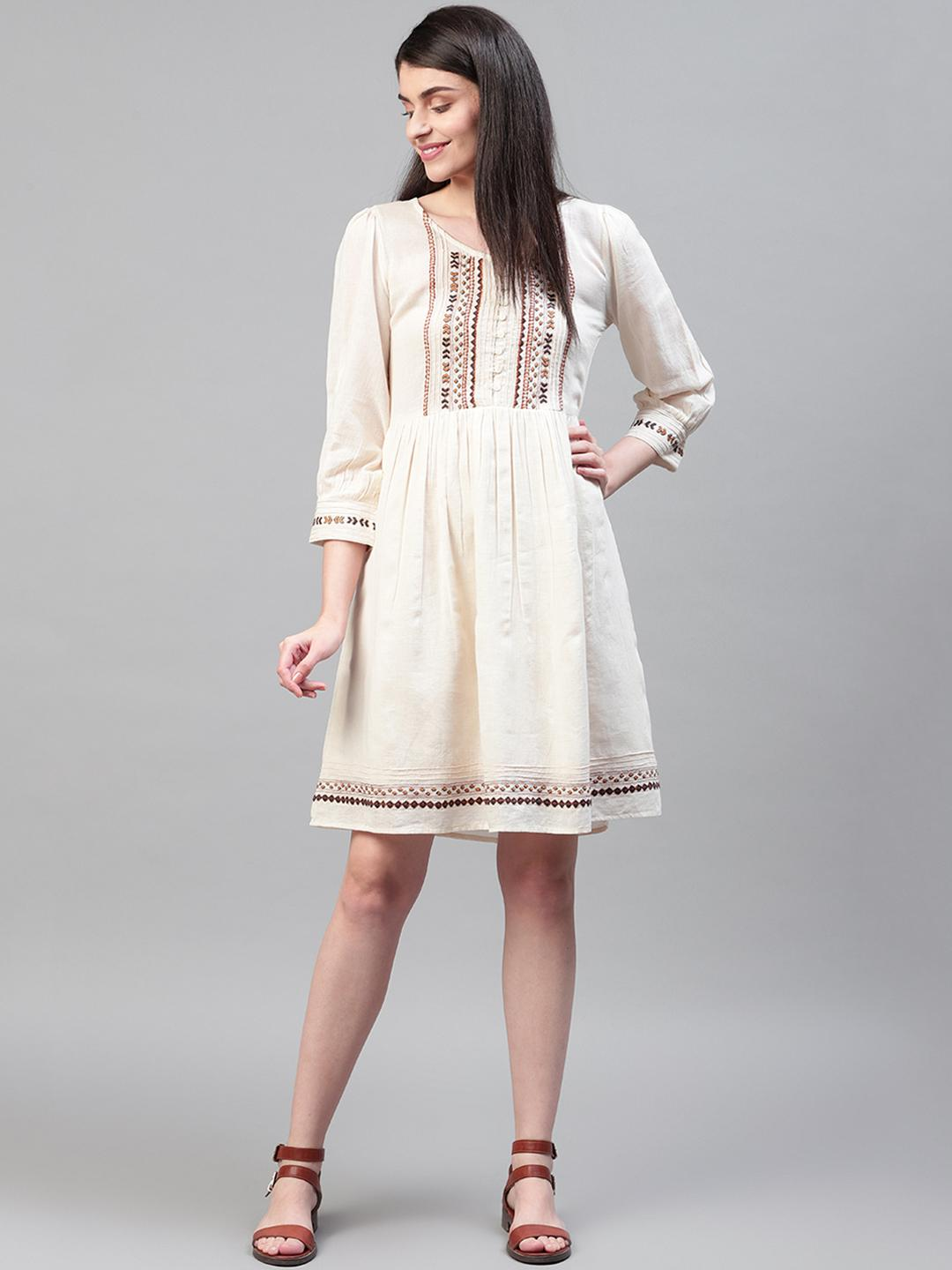 Off-White Cotton Embroidered Dress