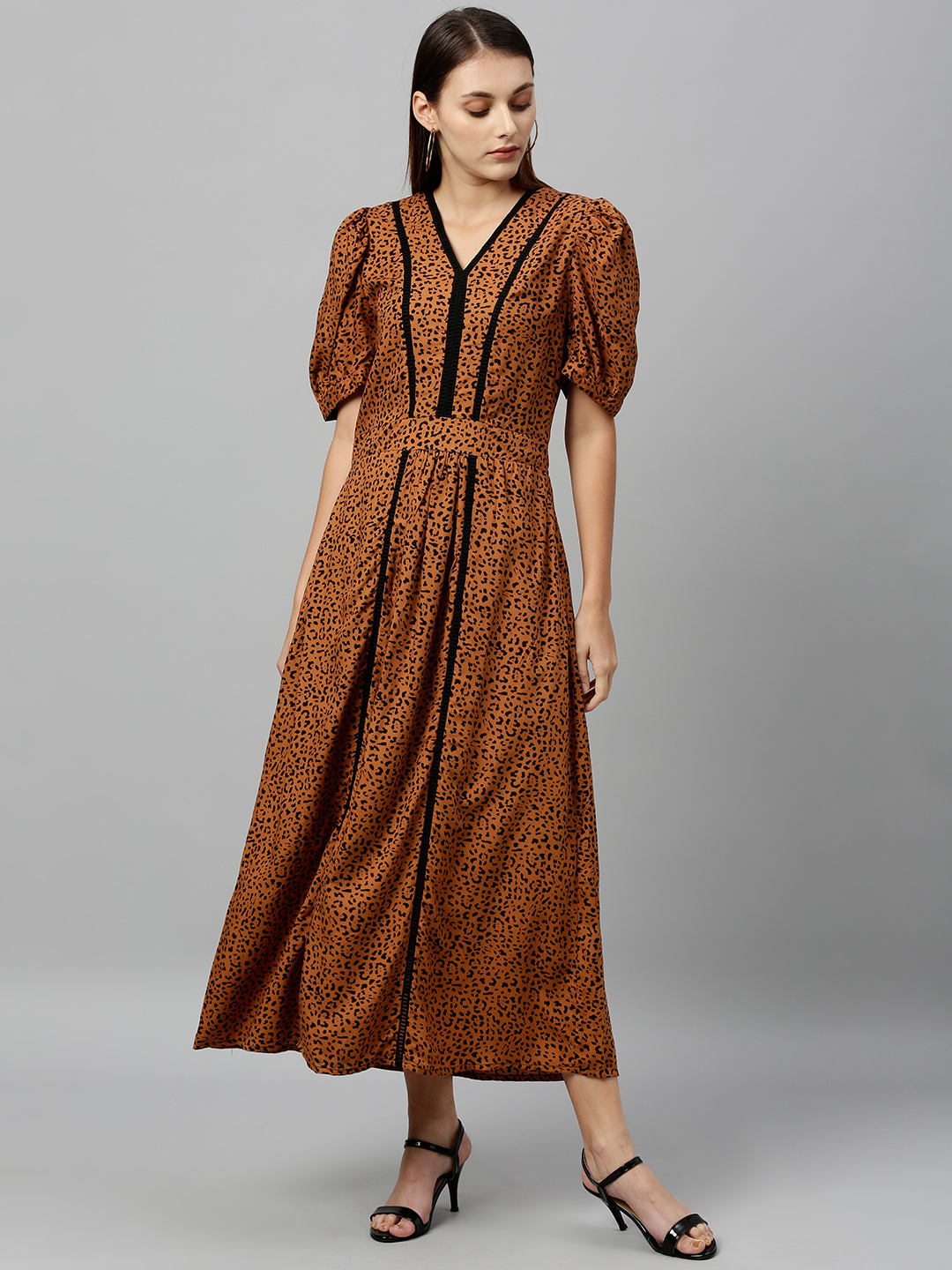 Leopard print long length dress with lace inserts