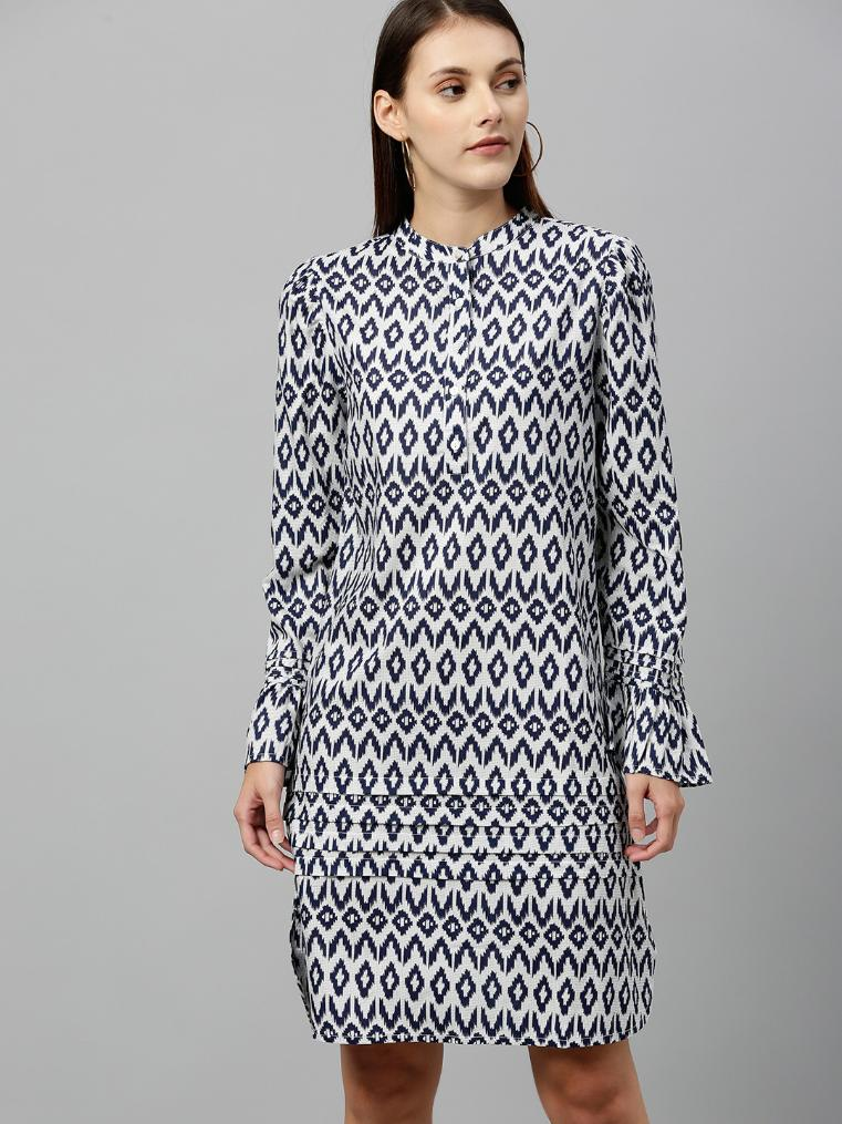 Blue & White printed Rayon dress