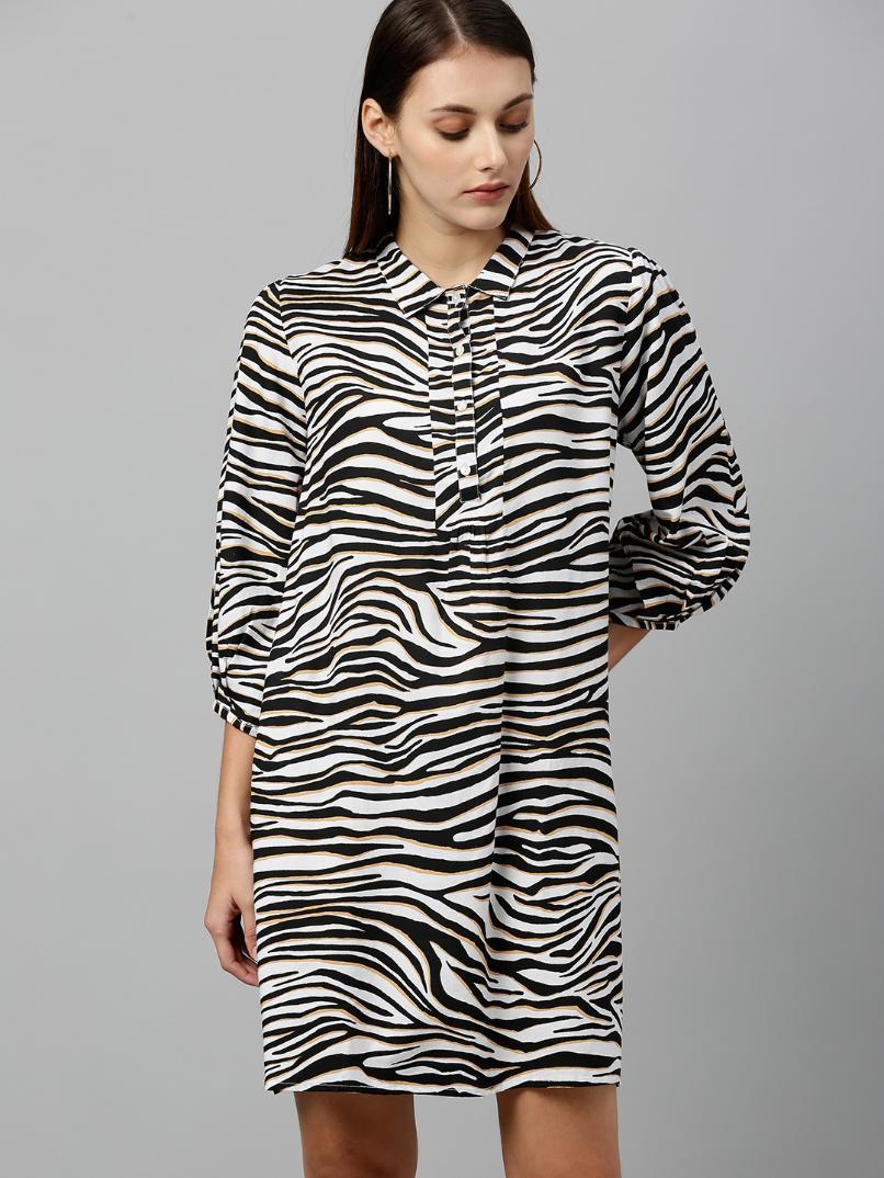 Animal printed  shirt dress with three quarter sleeves