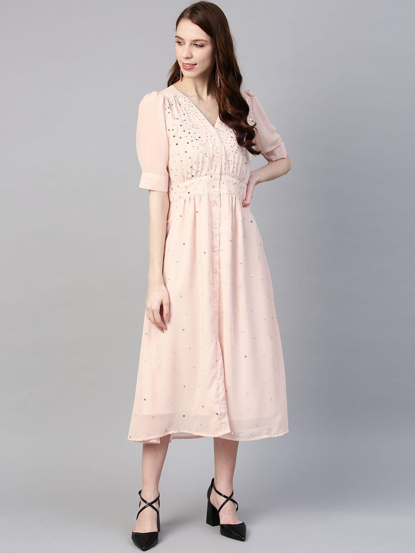 Peach Embellished Midi Dress