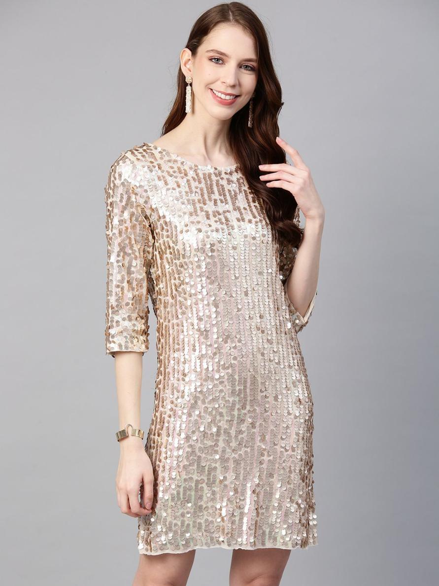 Beige allover Sequin Dress