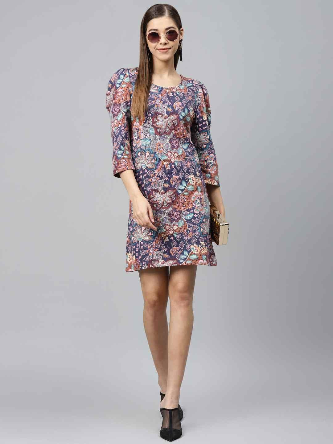 Printed Shift Dress with puff sleeves