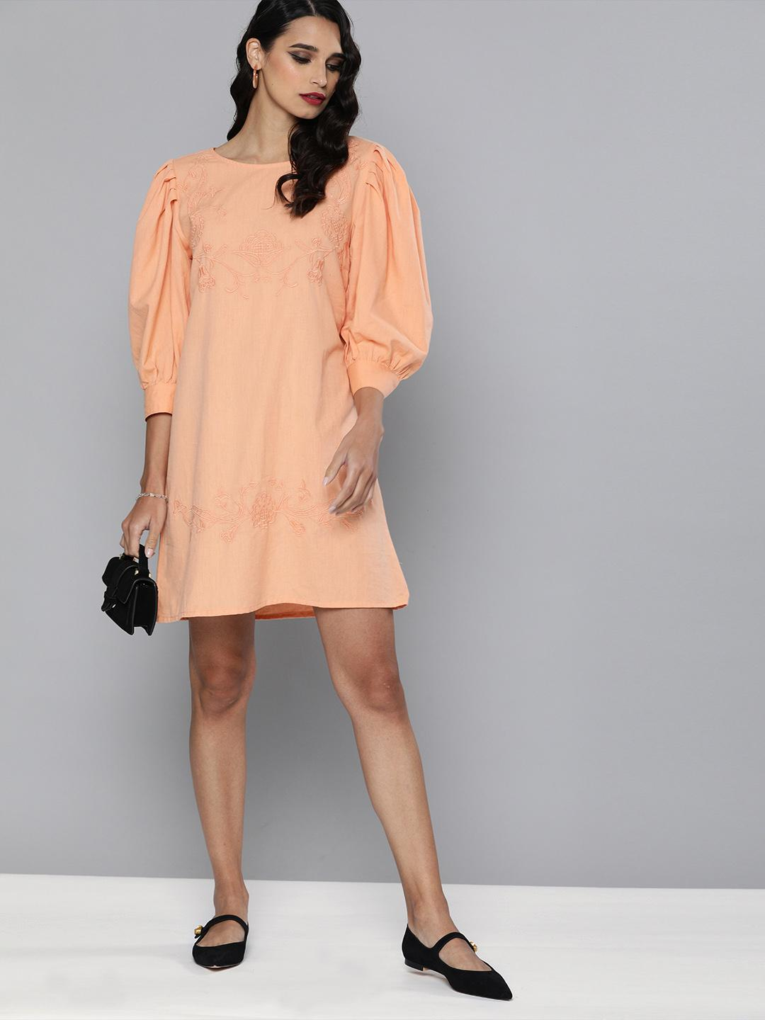 Volume sleeves embroidered Cotton Linen dress
