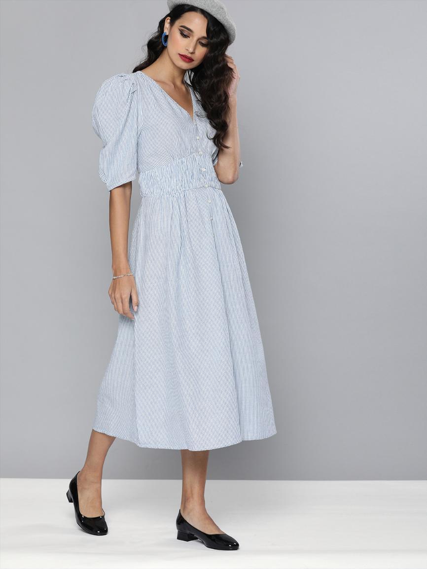 Blue & White Cotton striped dress