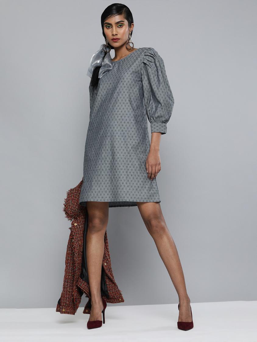 Volume Sleeves Denim Dobby dress