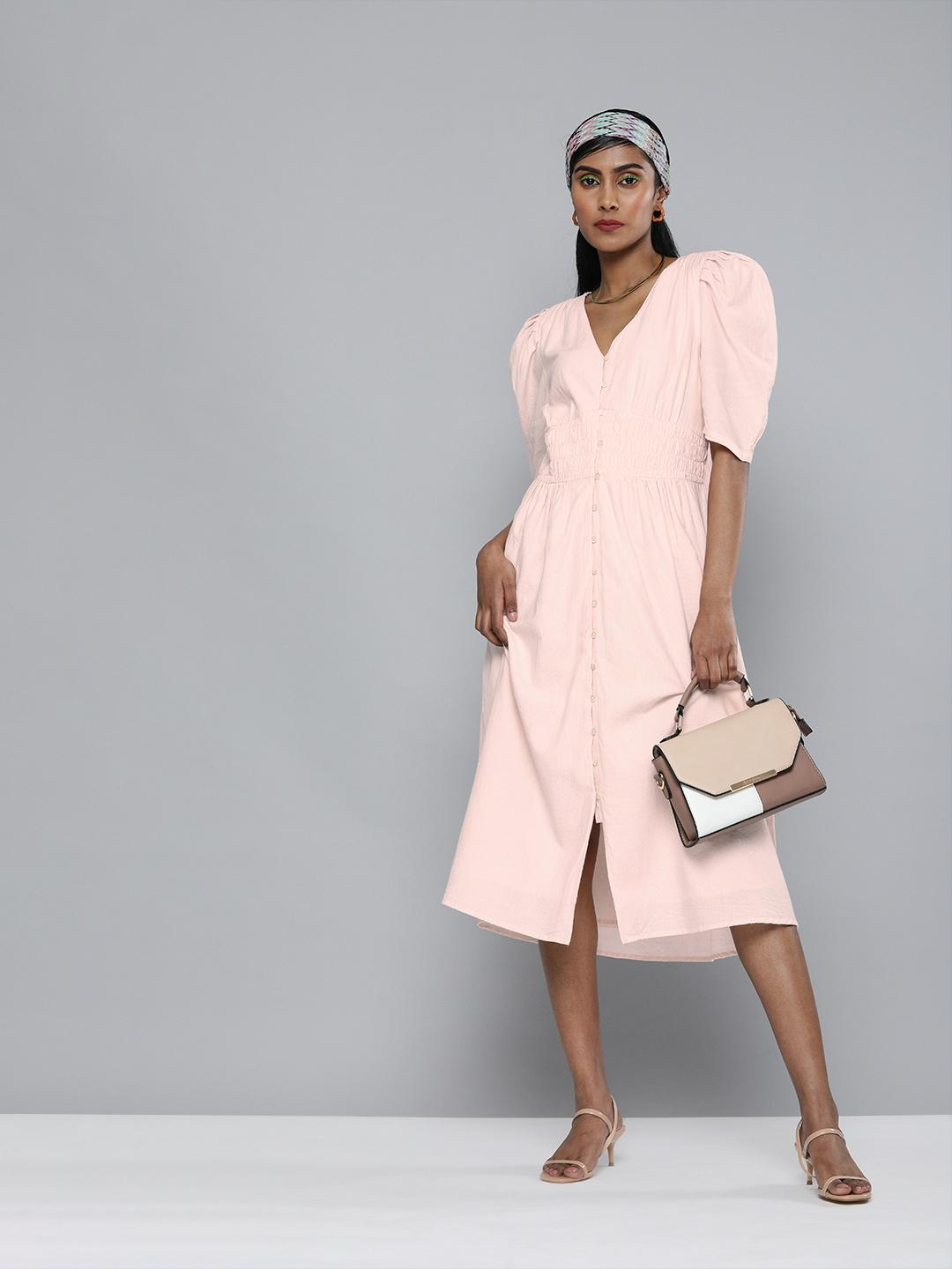 Puff Sleeves Pink Front buttoned Dress