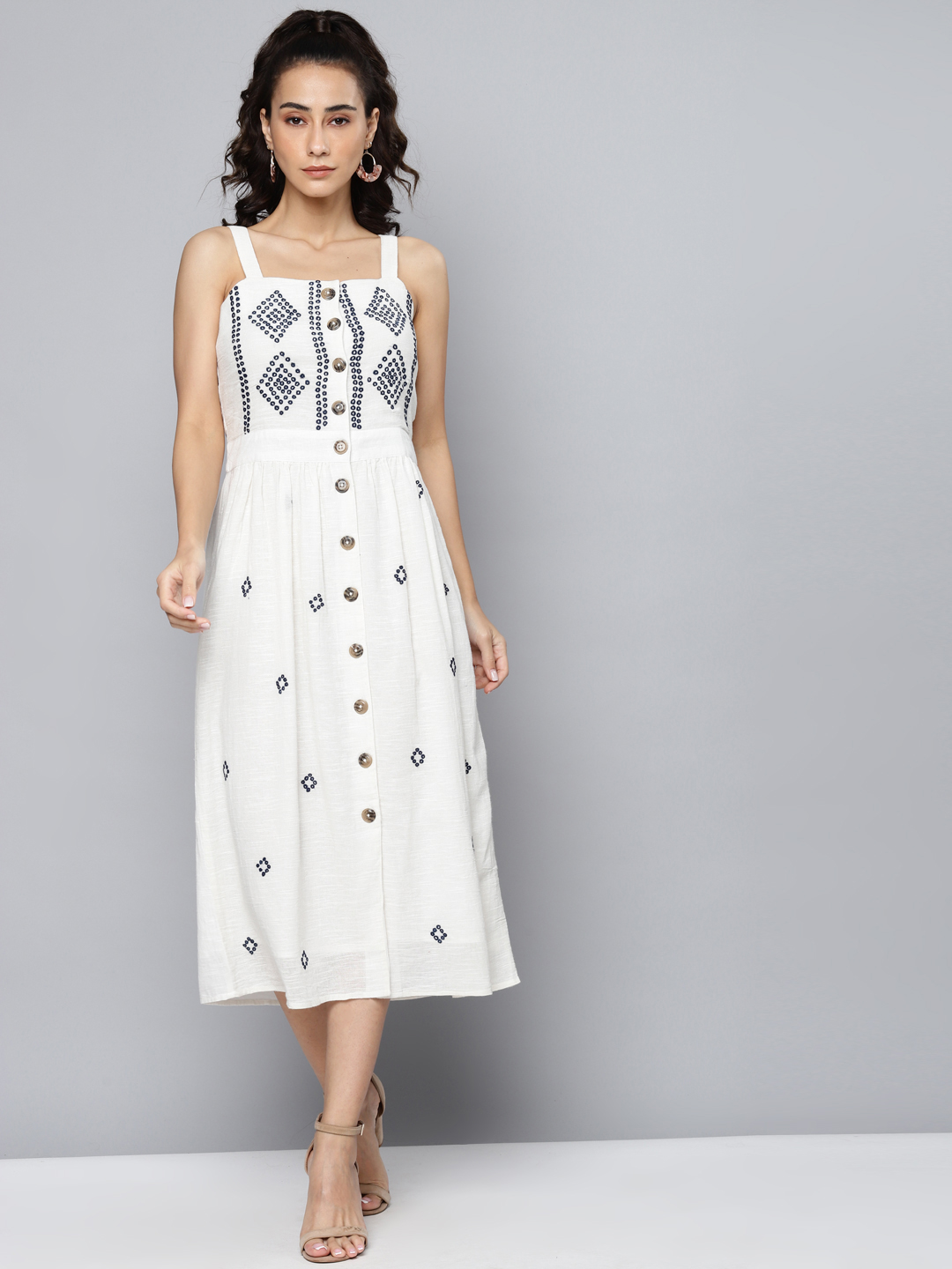Ivory embroidered strappy dress