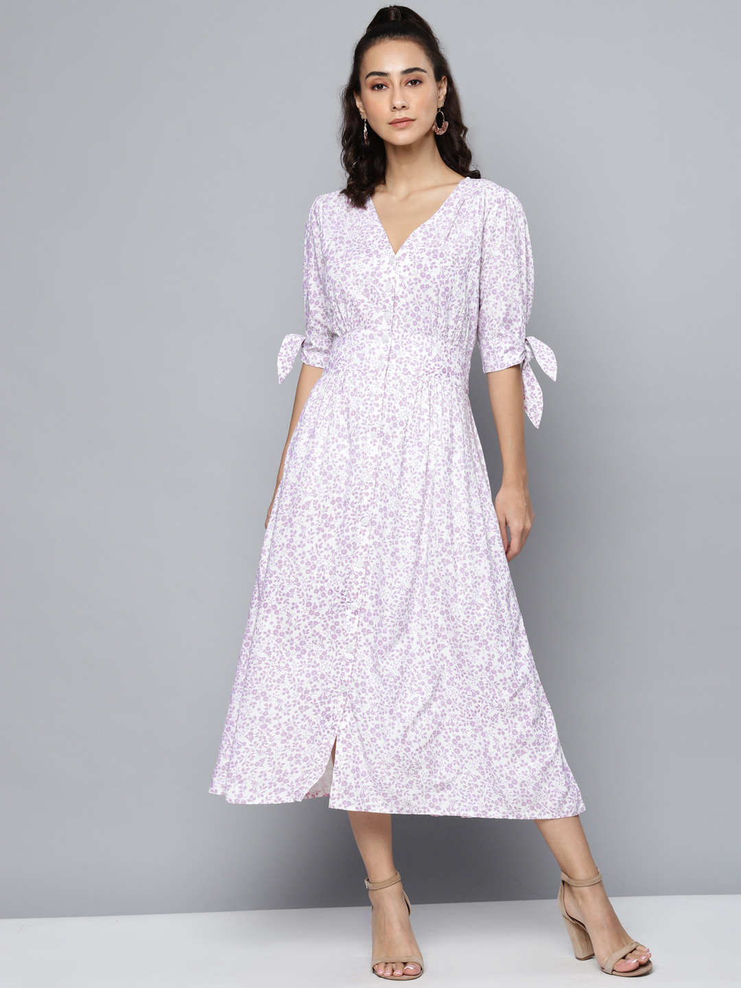 Front Buttond Printed Maxi Dress