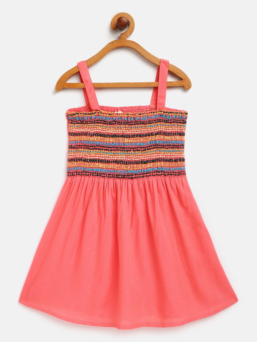 Embroidered Smocked Strappy Dress