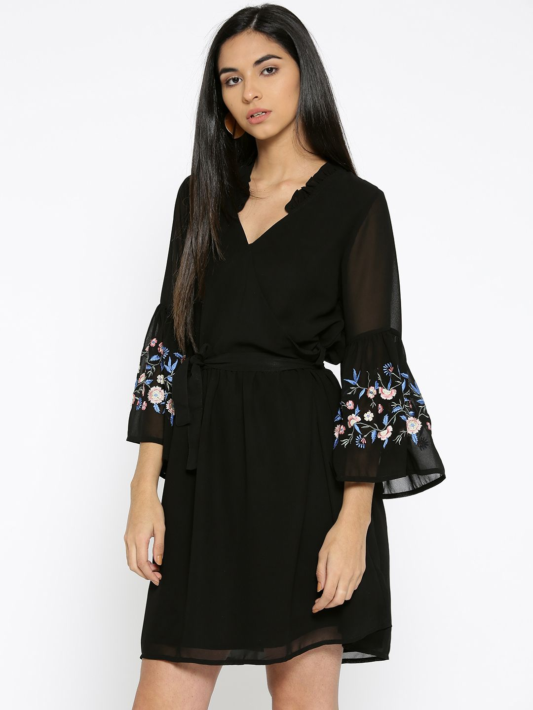 Embroidered Bell Sleeves Dress