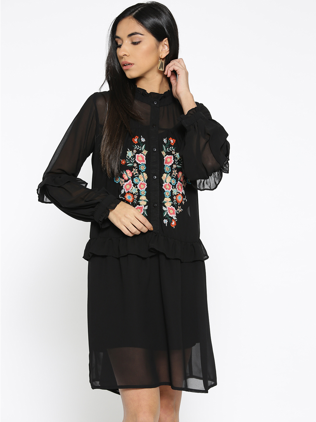 Black Embroidered Loose Fit Dress