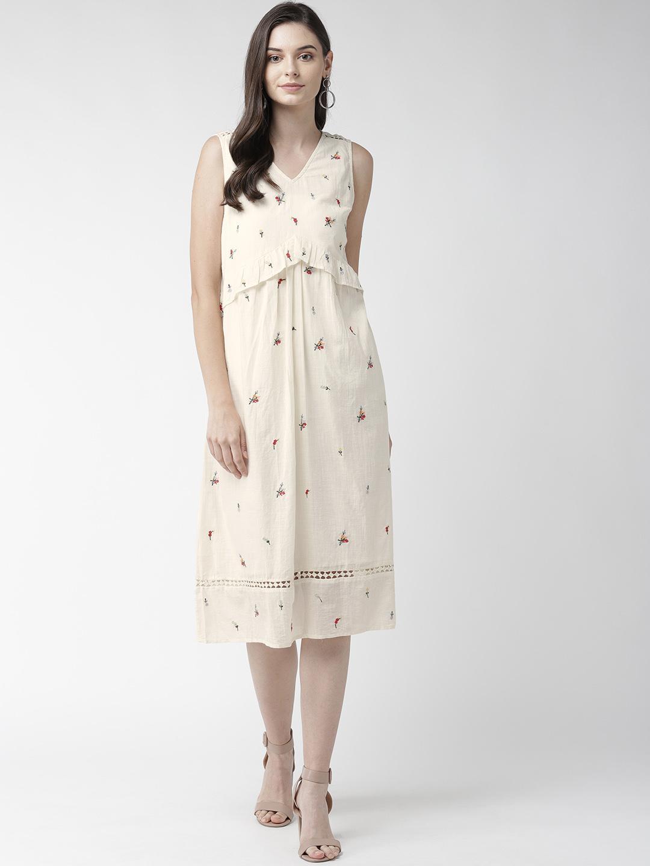 Cotton Sleeveless Embroidered Dress