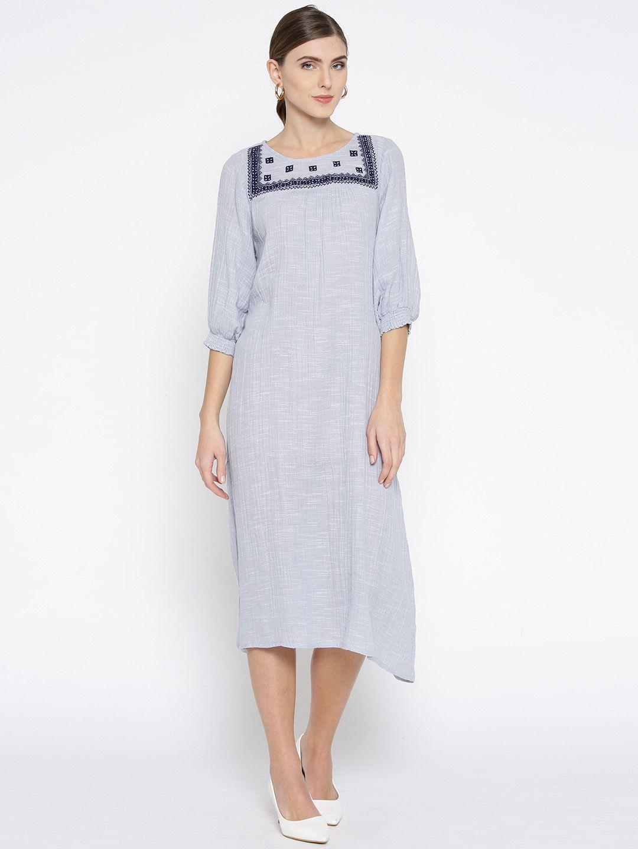 Blue Cotton Slub Yoke Embroidered Dress