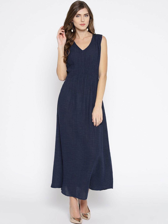 Sleeveless Navy Blue Maxi Dress