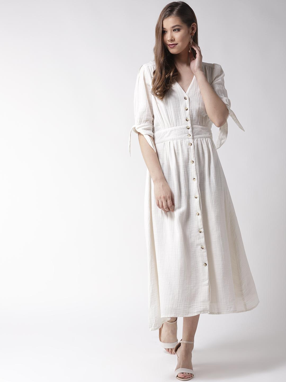 Off White Cotton Long Dress