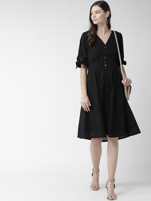Black Fitted Waist Dress
