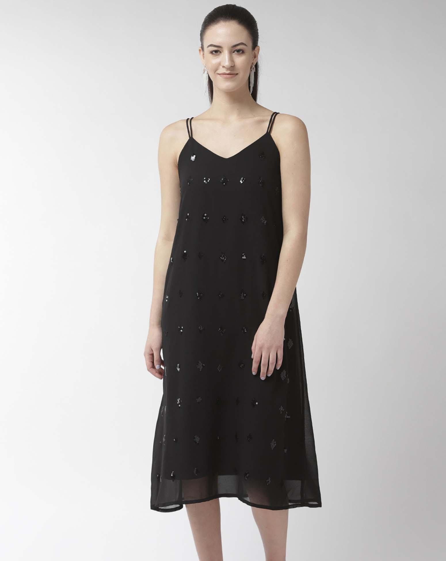 Embellished Black Dress