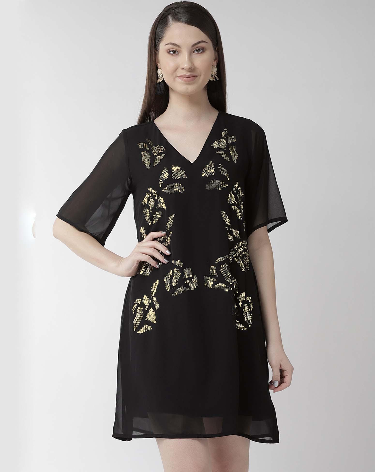 Embellished A-line Black Dress