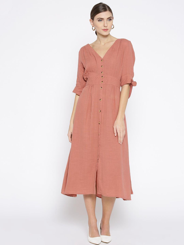 Pink Solid A-Line Dress