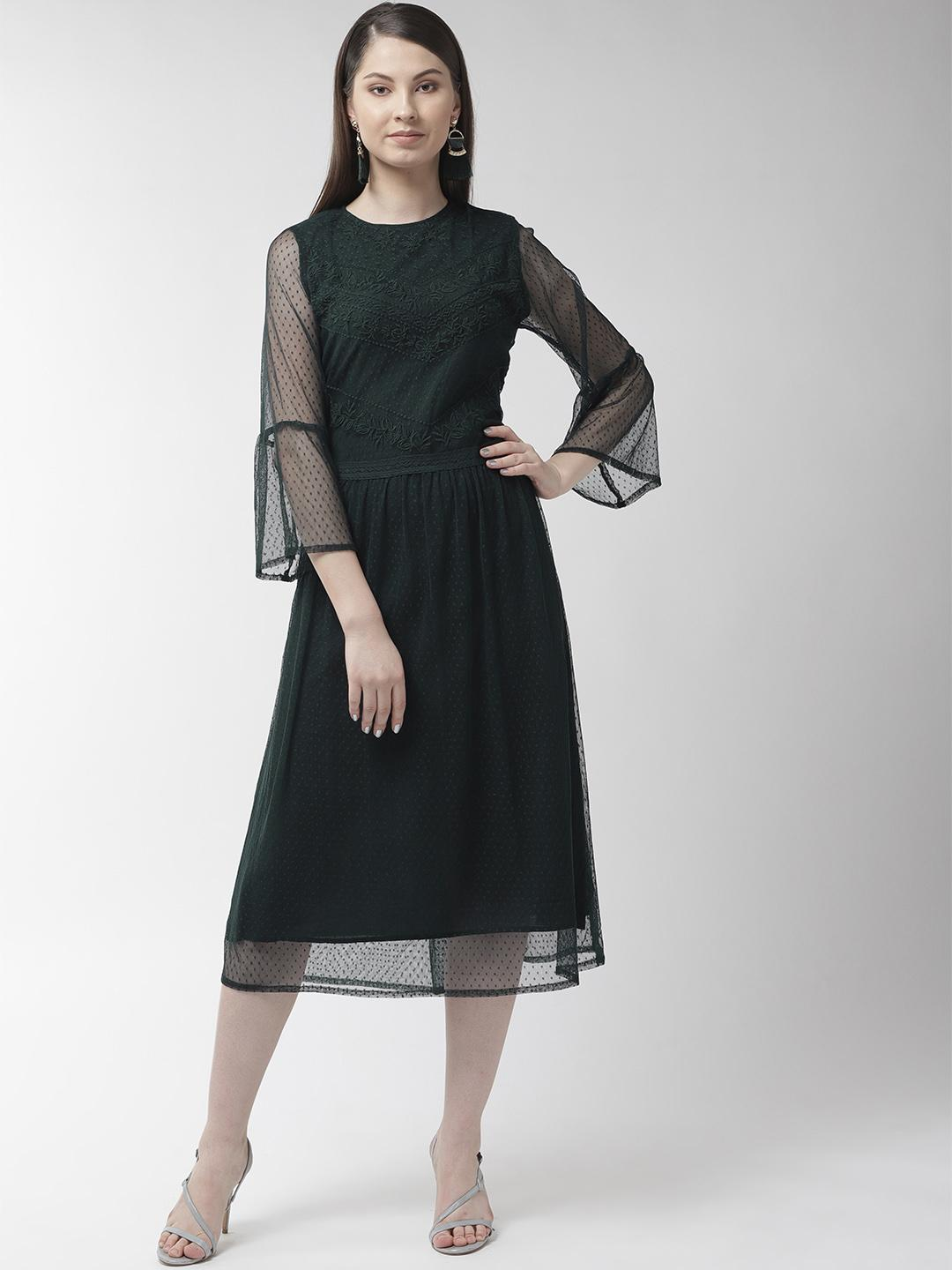 Green Buta Mesh Embroidered lace Insert Dress