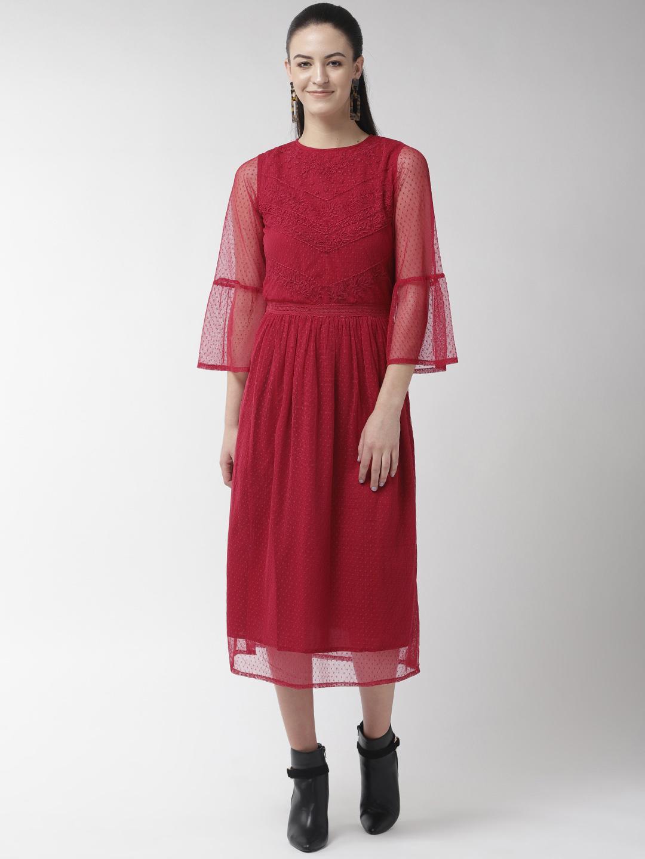 Buta Mesh Embroidered lace Insert Dress