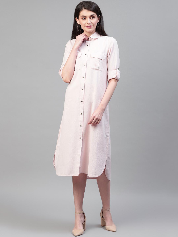 Pink solid cotton flex shirt dress