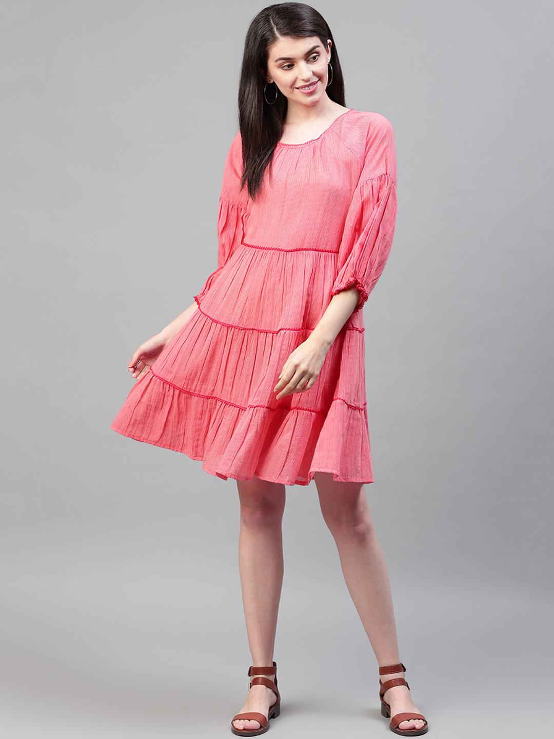 Red cotton lace insert dress with three quarter sleeves