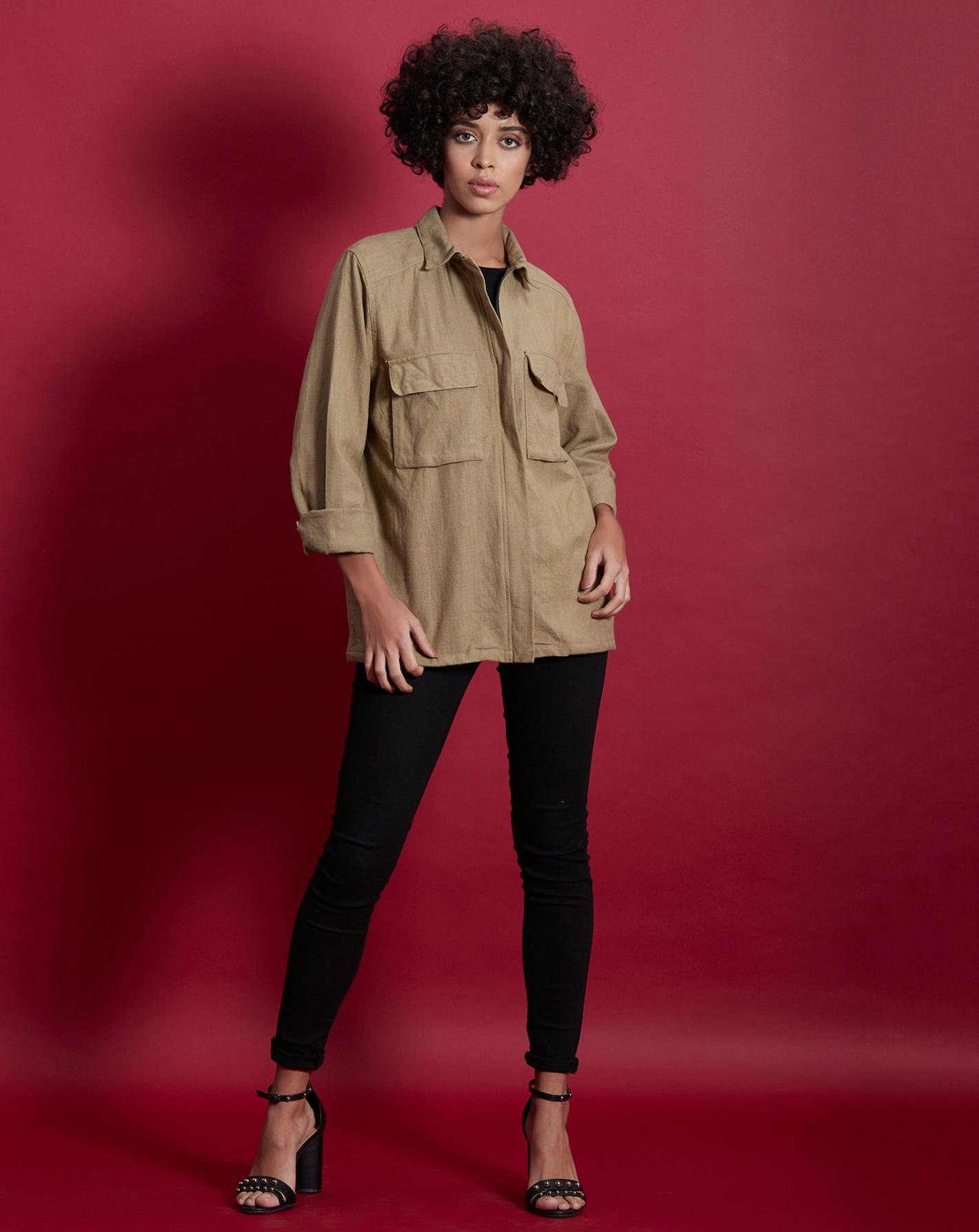 Khaki Cotton Jaket with Pocket Details on front