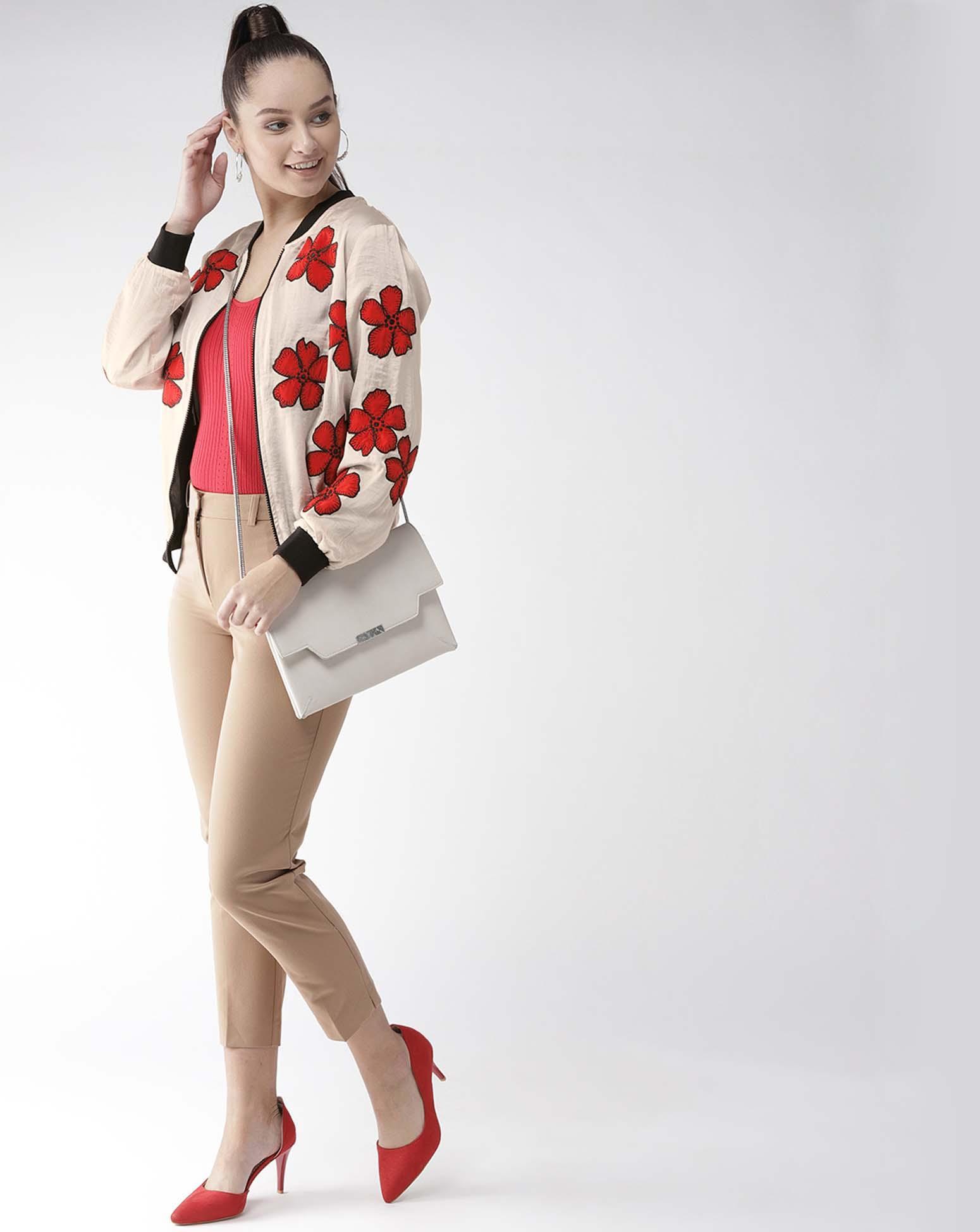 Floral Appliqued Satin Jacket