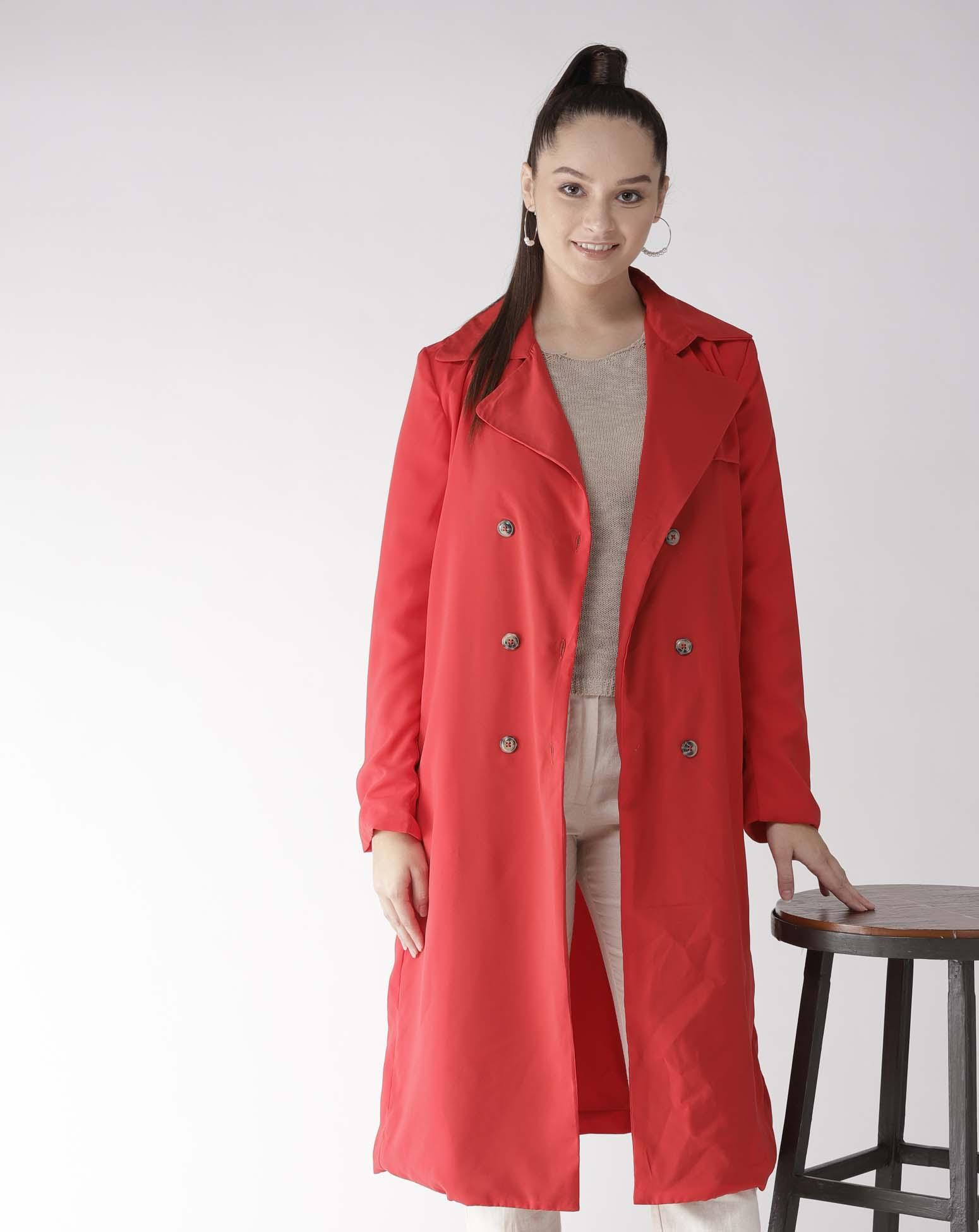 Red Front opened Over Coat