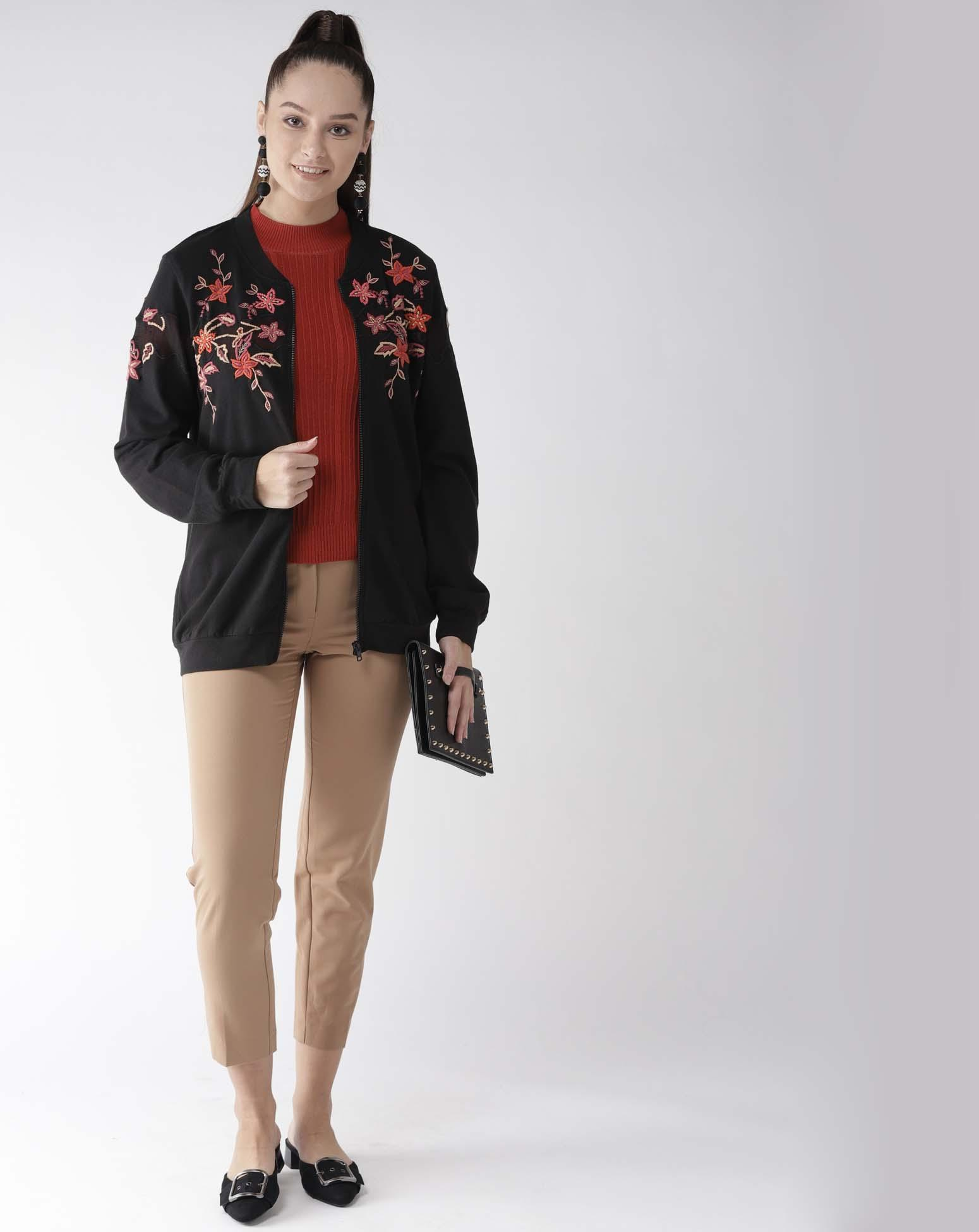 Embroidered Cotton Terry Jacket