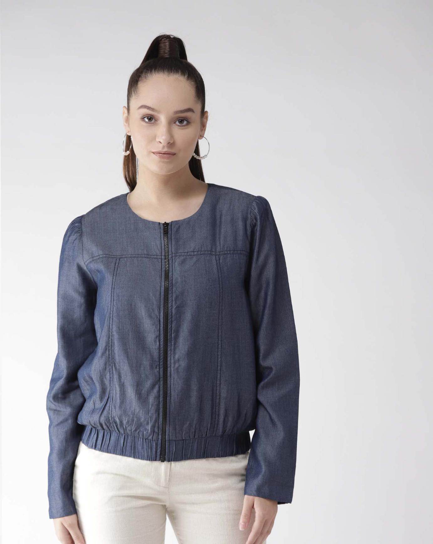 Chambray Jacket with front zipper & Pockets