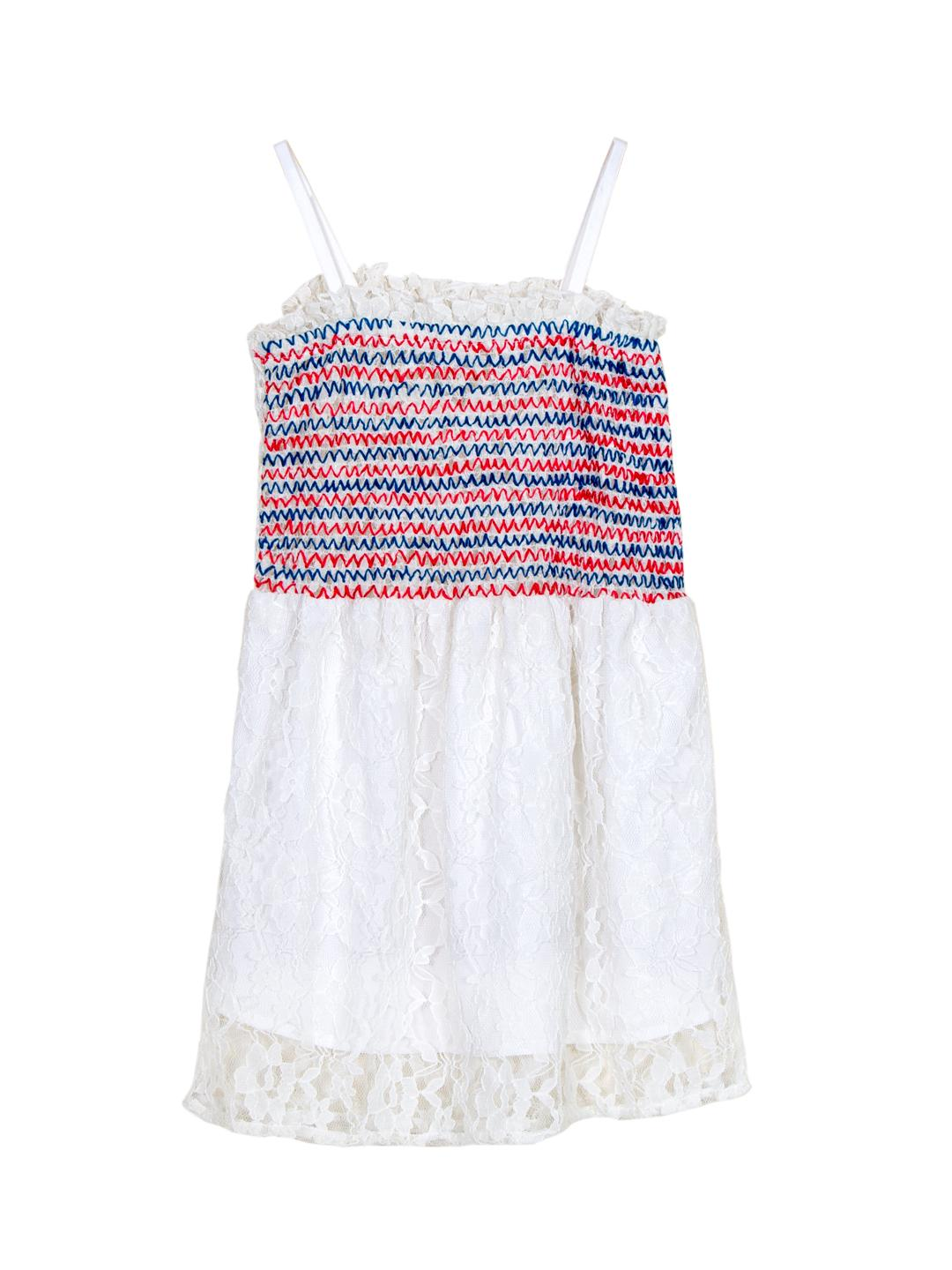 Multicolor Embroidered Strappy Lace Dress