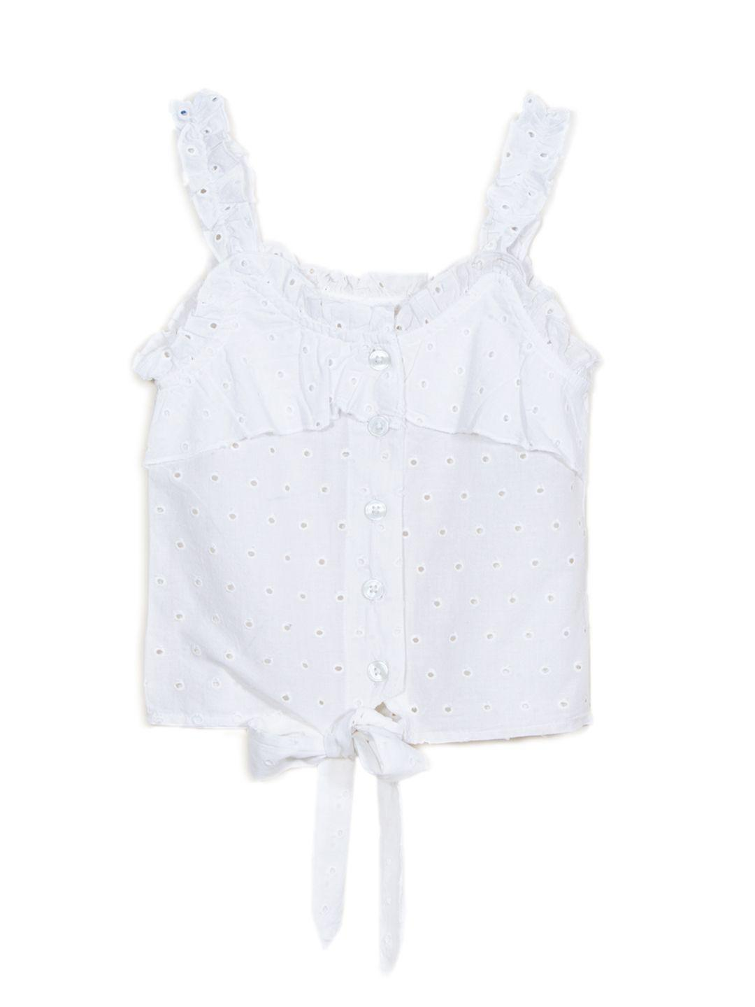 Strappy front buttoned schiffli top