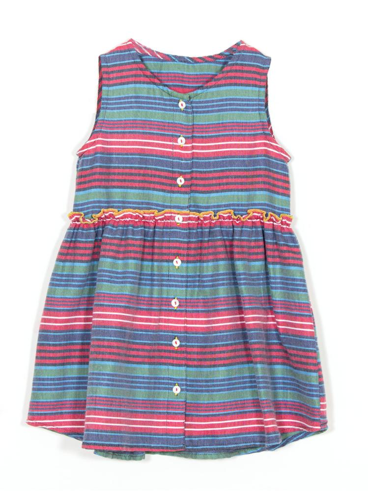 Multi Color Stripe Front Opened Button Dress