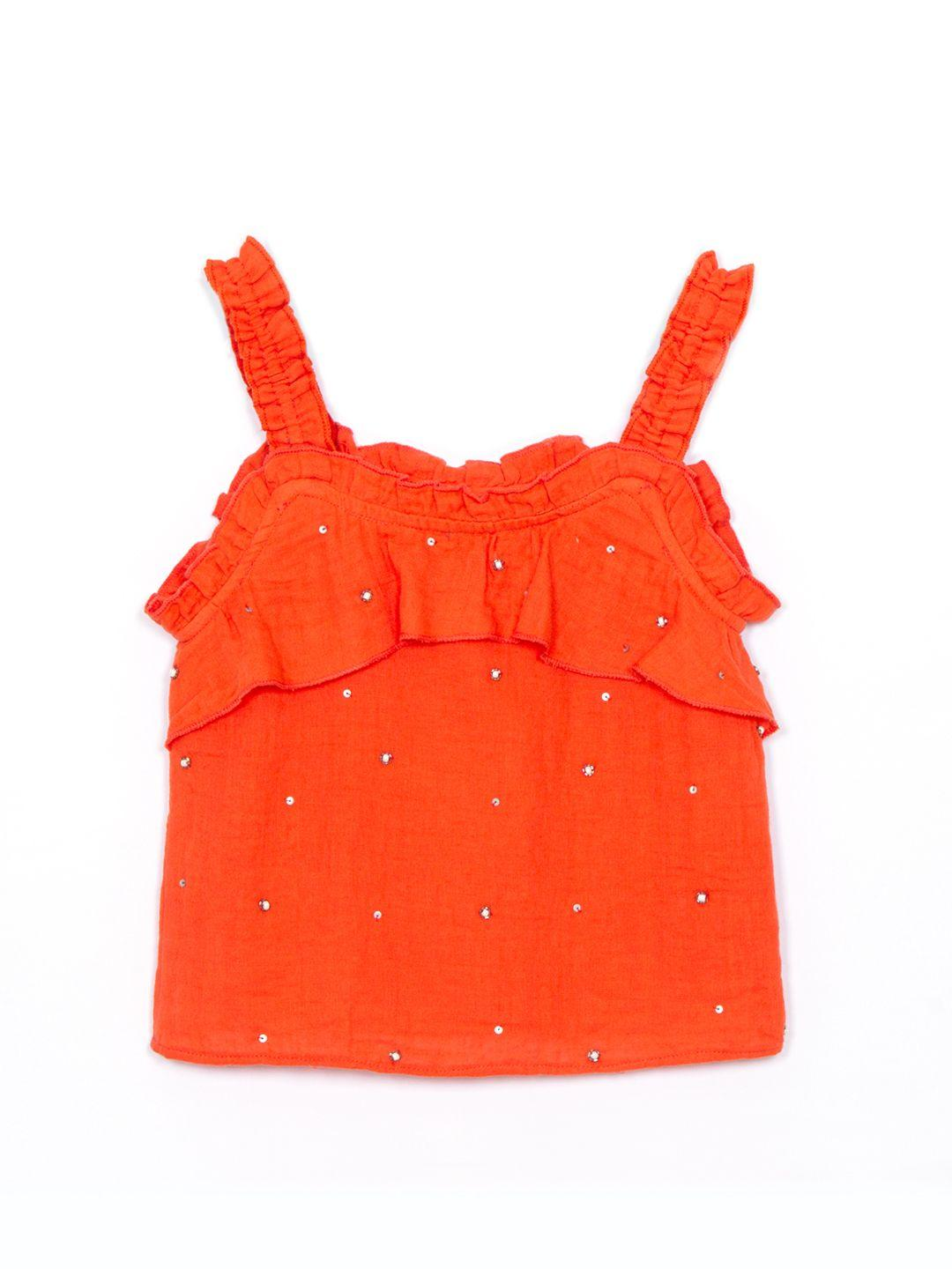 Cotton Embellished Cami top with frill detail