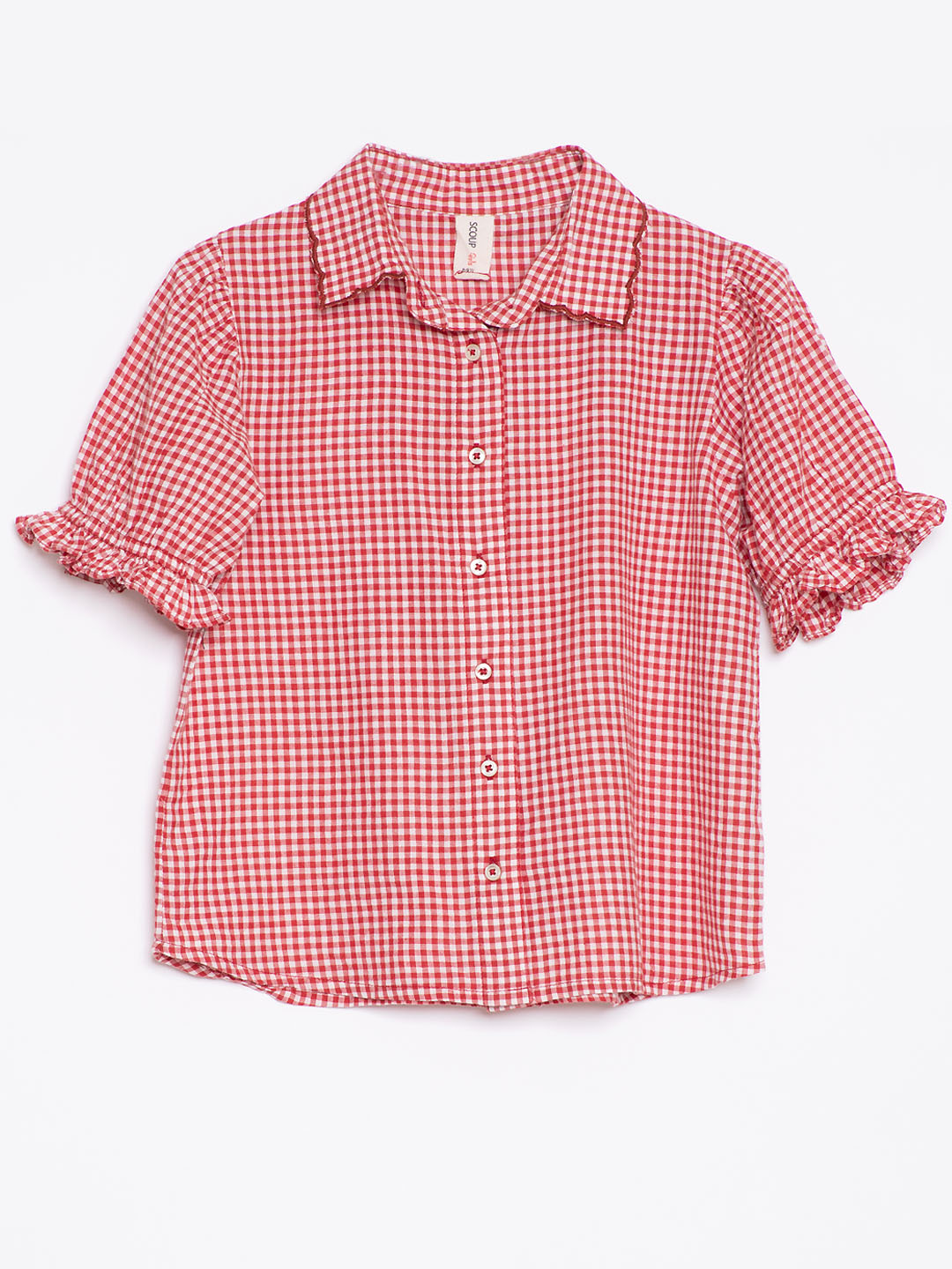 Check Embroidered shirt top with short sleeves