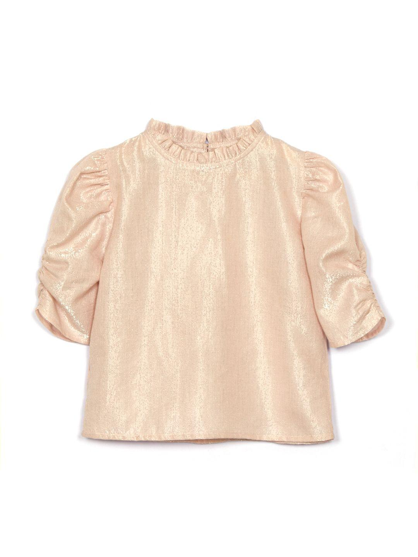 Puff Sleeves Cotton Lurex top