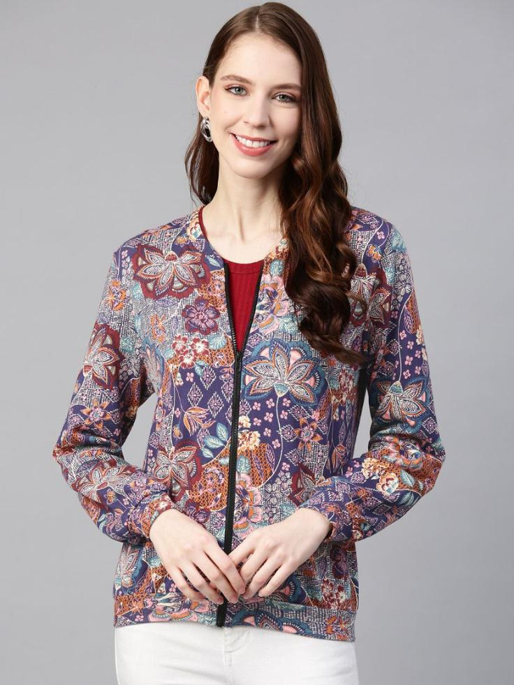 Printed front open terry  jacket