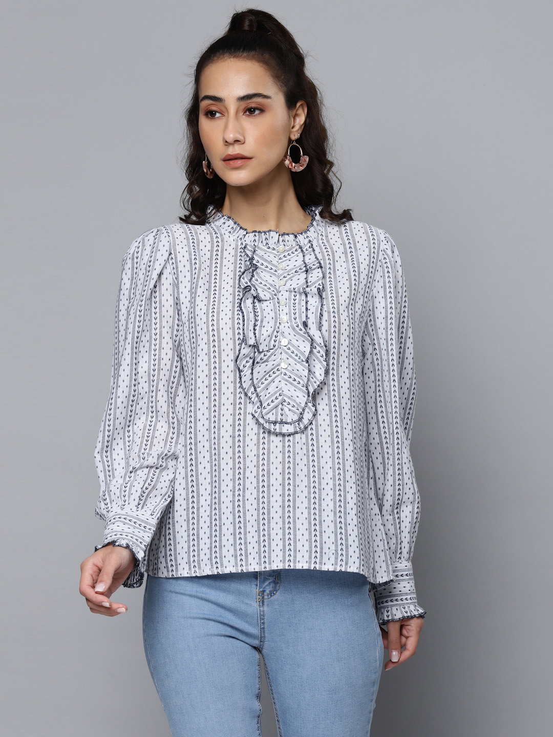 Cotton Jacquardc Frill Full Sleeves Top