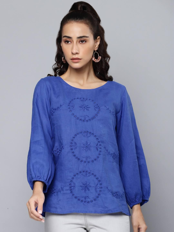 Blue Schiffli Embroidered Cotton LinenTop