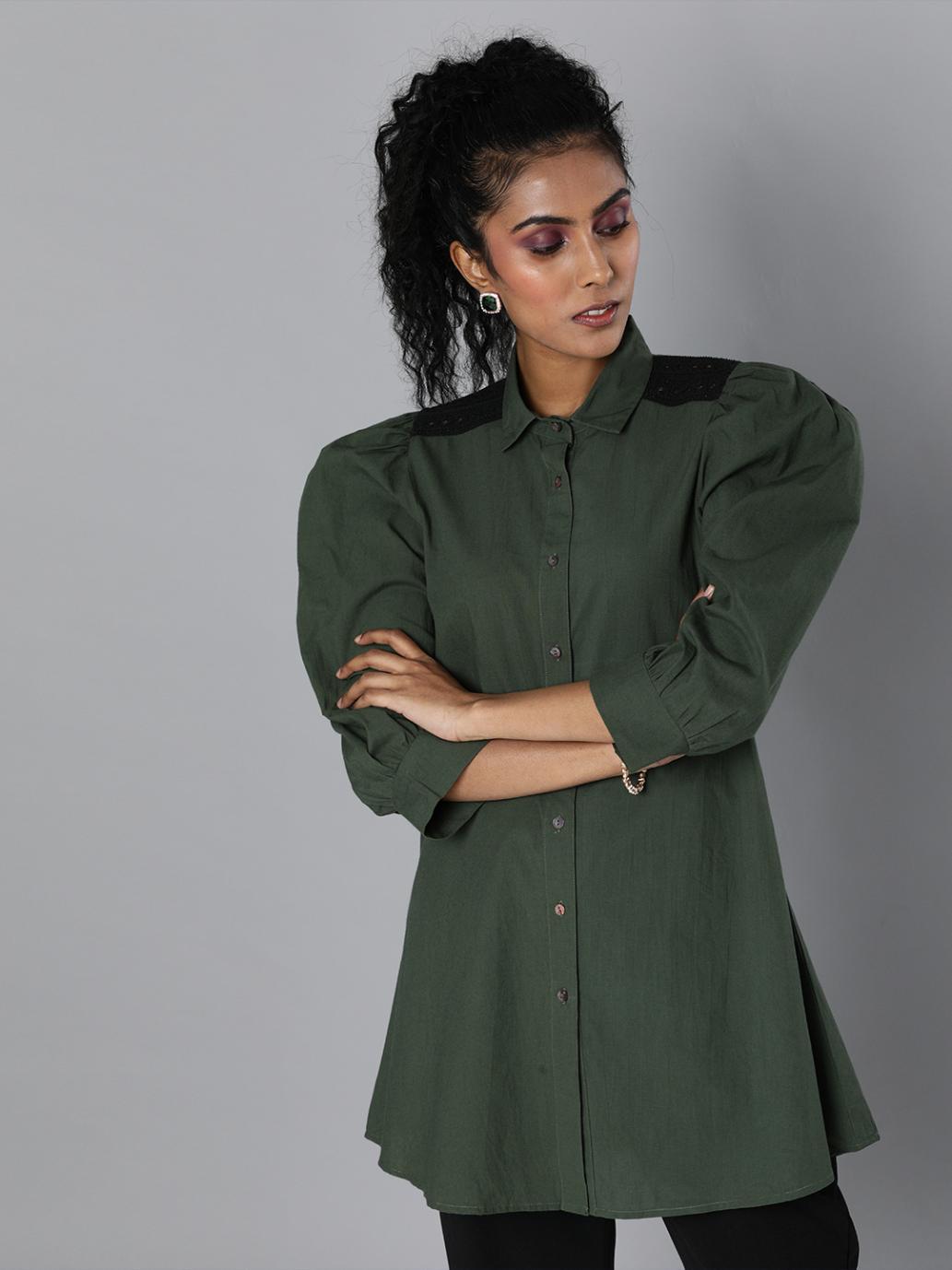 Lace insert shirt tunic