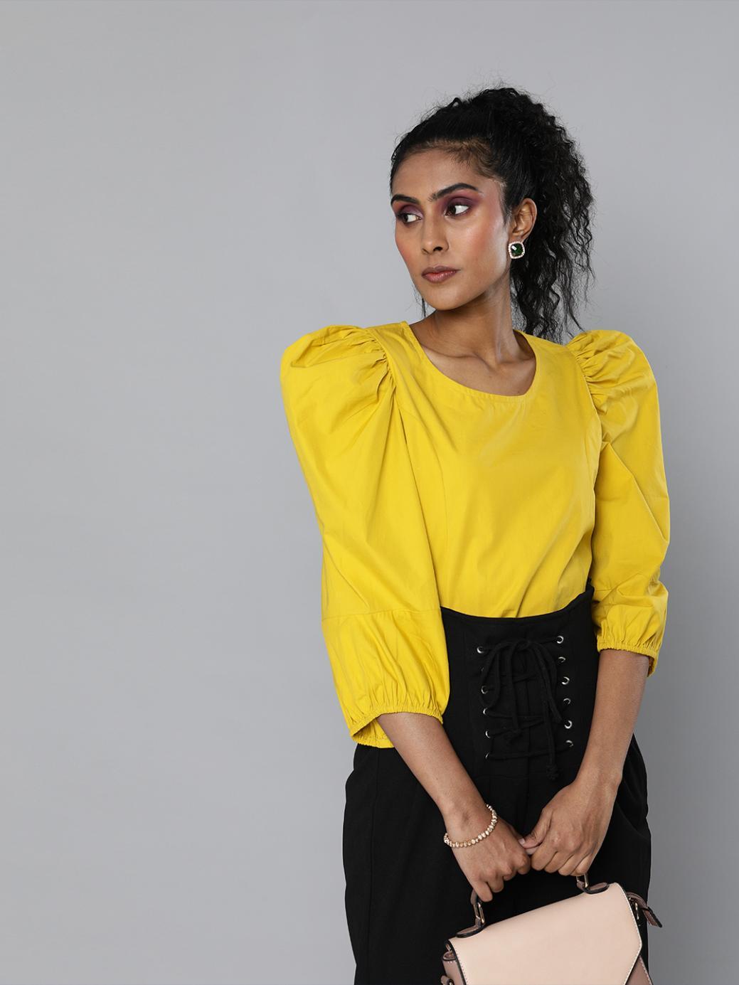 Mustard yellow volume sleeves Poplin top