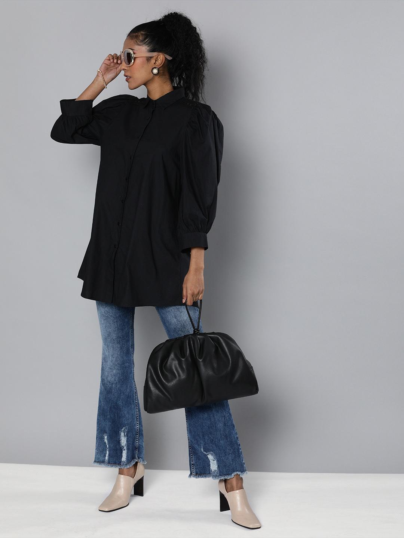 Black Lace insert shirt tunic