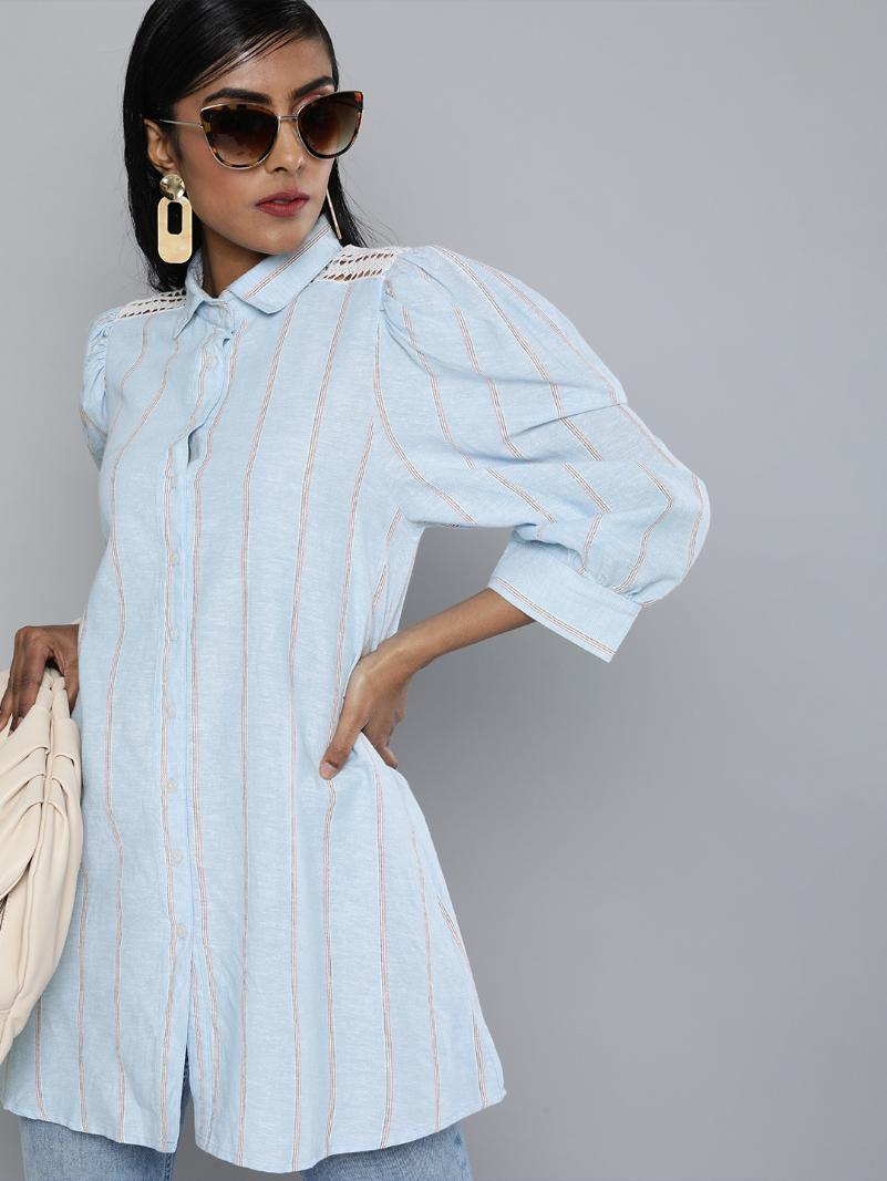Striped Lace insert shirt tunic