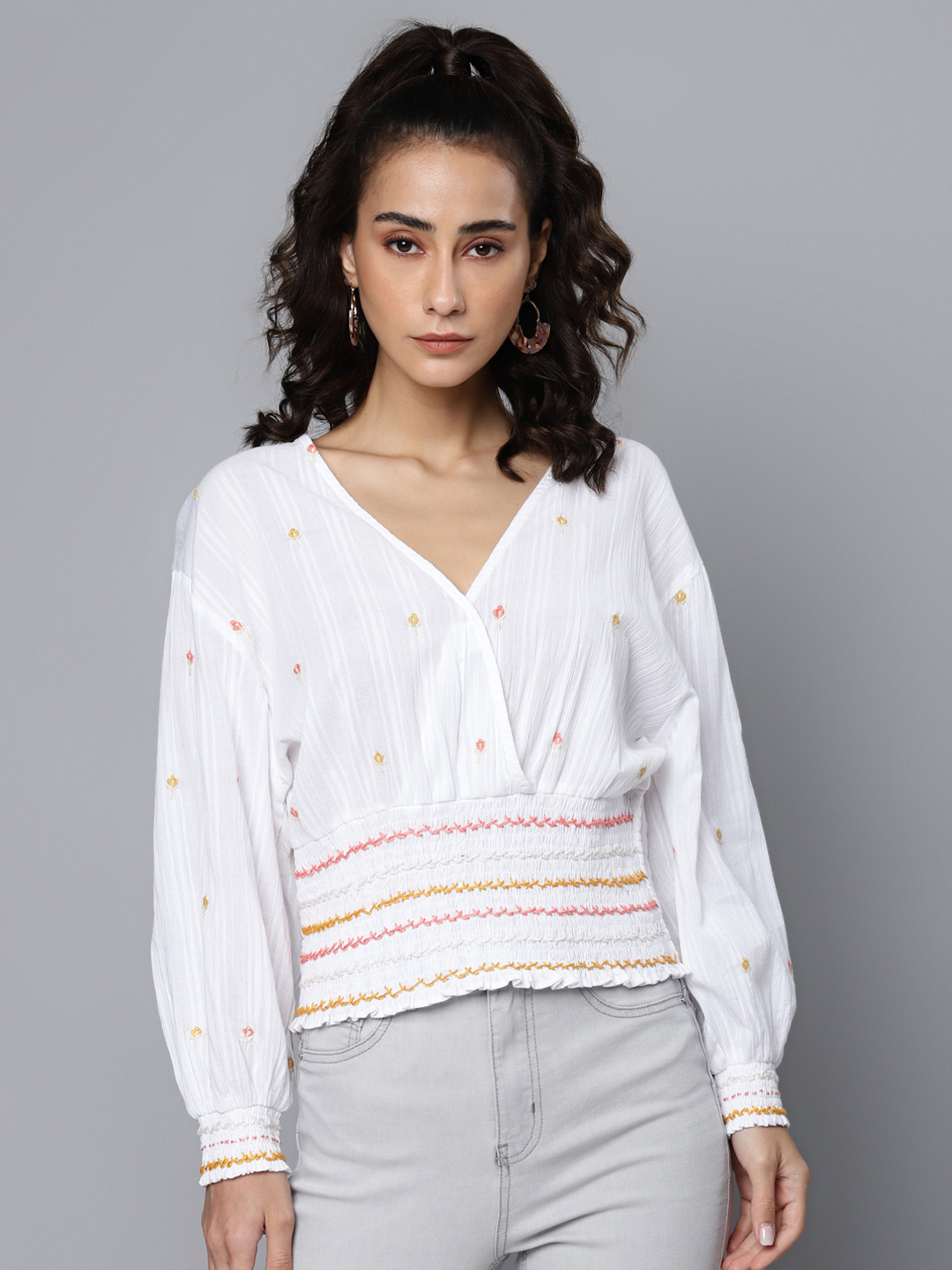 White Cotton Dobby Embroidered Wrap Top With Hand Smocking