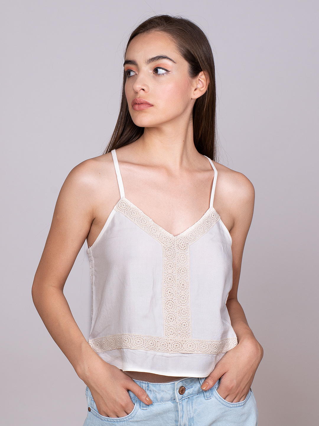 Lace patched white Strappy bralette