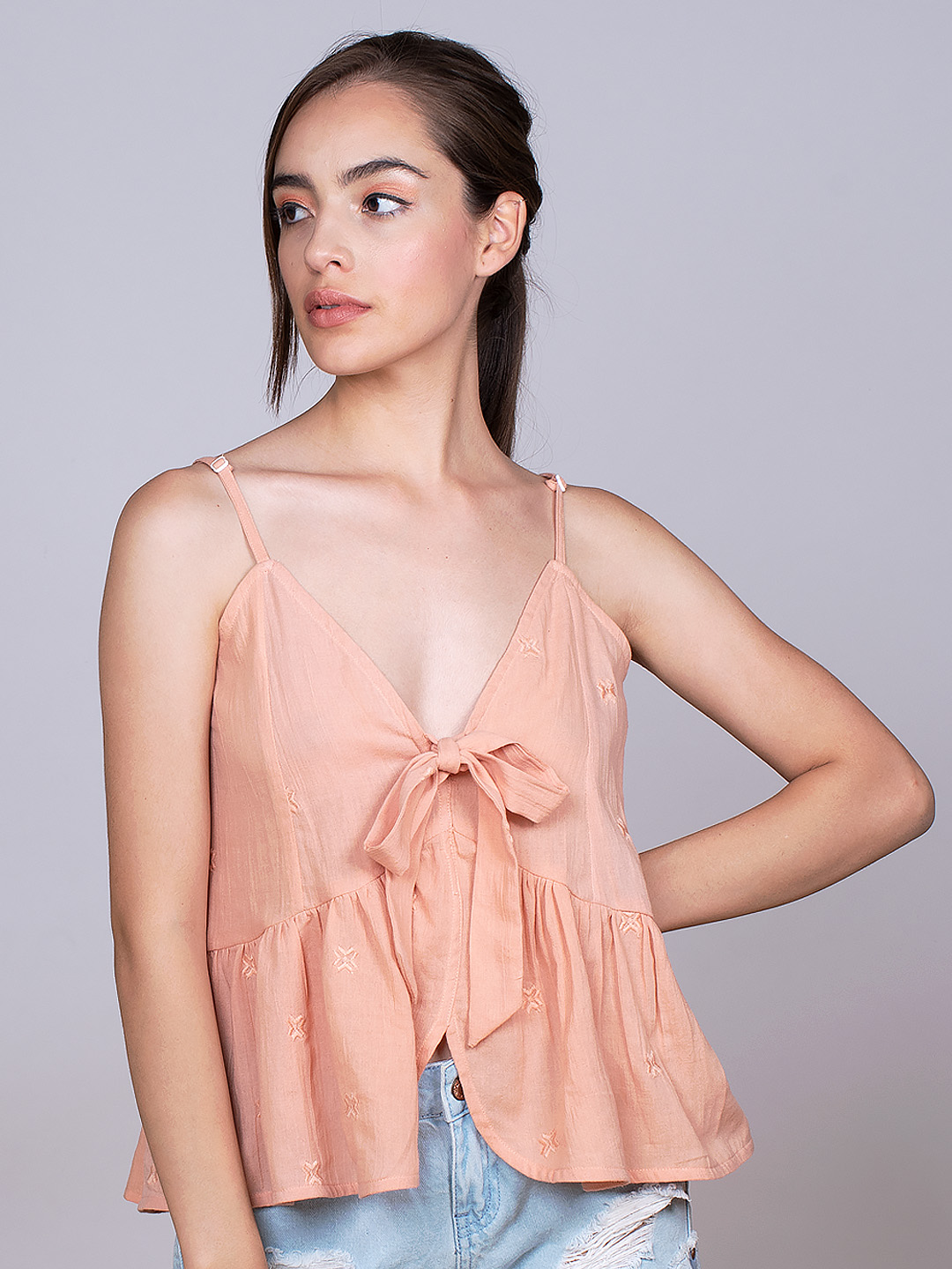Peach Embroidered front Knotted Top